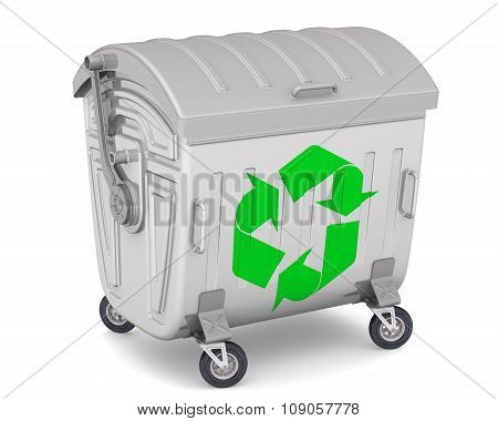 Closed trash container with the international recycling symbol on white surface. The three-dimension