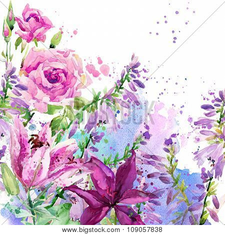 watercolor garden flowers. flowers background. watercolor illustration