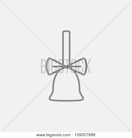 School bell with ribbon line icon for web, mobile and infographics. Vector dark grey icon isolated on light grey background.