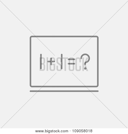 Maths example written on blackboard line icon for web, mobile and infographics. Vector dark grey icon isolated on light grey background.