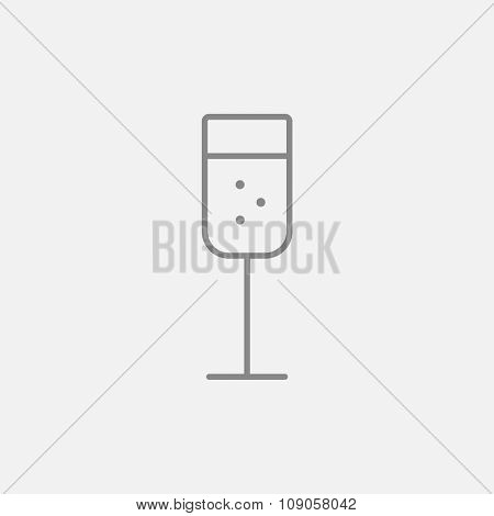 Glass of champagne line icon for web, mobile and infographics. Vector dark grey icon isolated on light grey background.