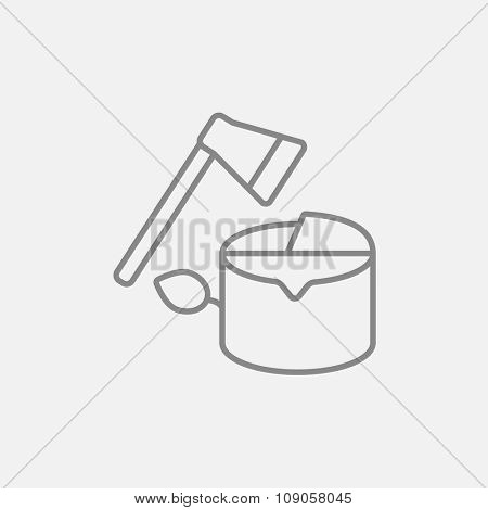 Deforestation line icon for web, mobile and infographics. Vector dark grey icon isolated on light grey background.