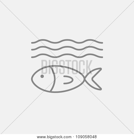 Fish under water line icon for web, mobile and infographics. Vector dark grey icon isolated on light grey background.