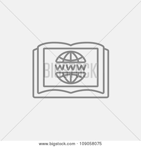 Globe and open book line icon for web, mobile and infographics. Vector dark grey icon isolated on light grey background.