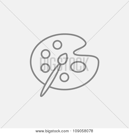 Paint brush with palette line icon for web, mobile and infographics. Vector dark grey icon isolated on light grey background.