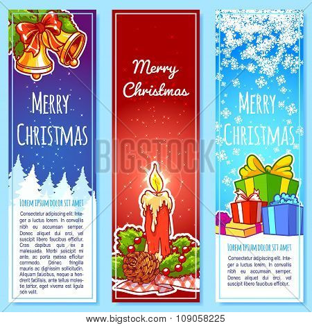 Three Christmas Vertical Banner.