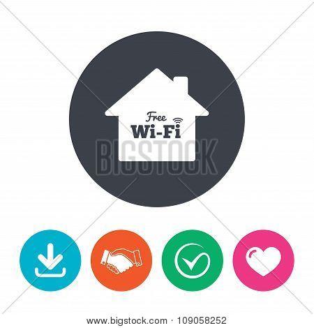Home wifi sign. Wifi symbol. Wireless Network.