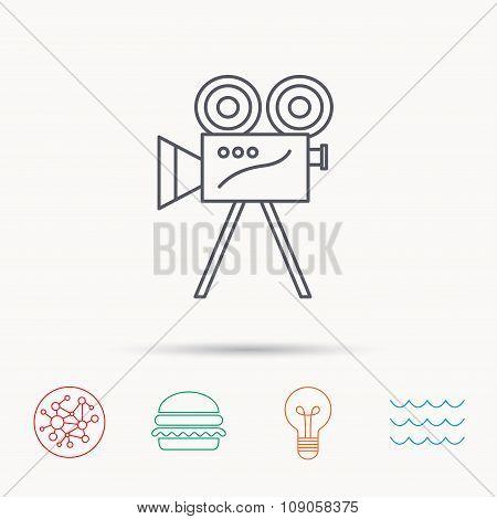 Video camera icon. Retro cinema sign.