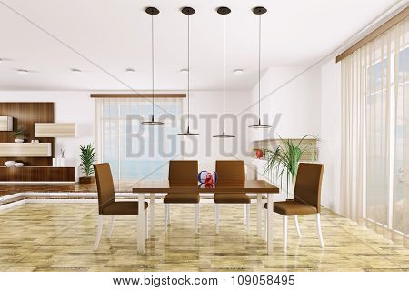 Interior Of Modern Living Room 3d endering