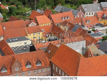 City With Red Tile Roof In Birdseye Perspective