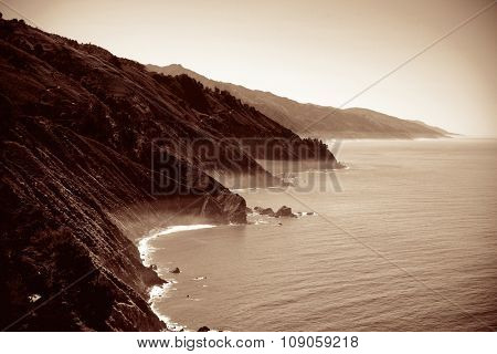Seascape in Big Sur in California in black and white.