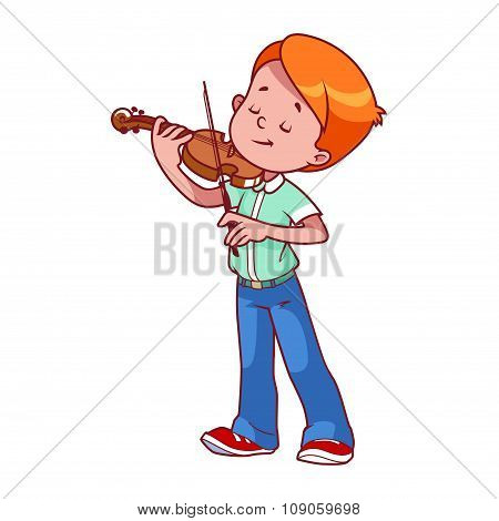 Cartoon Boy Playing The Violin.