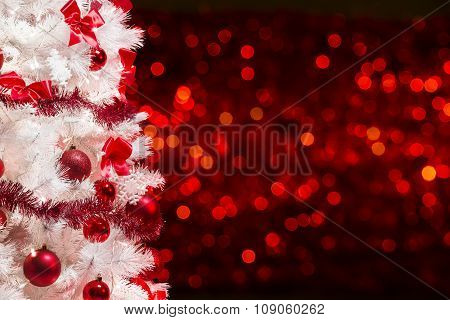 Christmas Tree Background, White Xmas Tree On Red Defocused Lights, Tinsel Baubles Bows Decoration