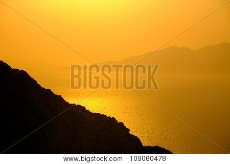 Landscape View Of Beautiful Colorful Sunrise Above The Ocean Islands