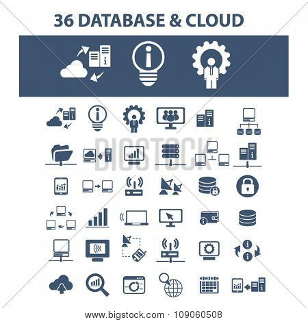 database, hosting, analytics  icons, signs vector concept set for infographics, mobile, website, application