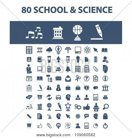 science, education, learning, study, research  icons, signs vector concept set for infographics, mobile, website, application