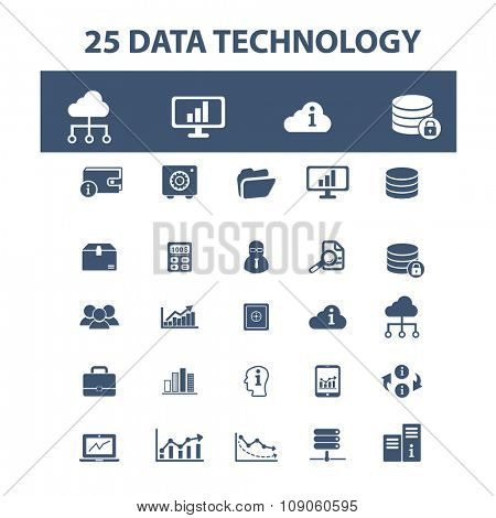 data, technology, computer network, connection, database, technology icons, signs vector concept set for infographics, mobile, website, application