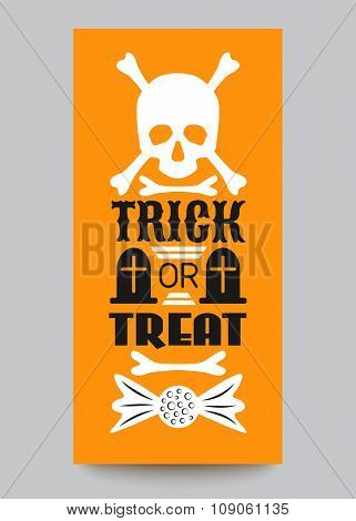 Happy Halloween Party card. Typography letters font type
