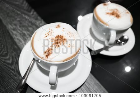 Cappuccino, Two Cups Of Coffee With Milk Foam