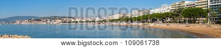 Cannes, France - November 3, 2003: Panoramic View To Embankment And Boulevard De La Croisette On Nov
