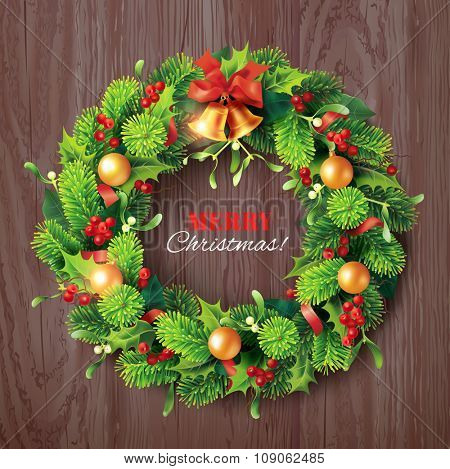 Christmas wreath on wooden background. Vector illustration.