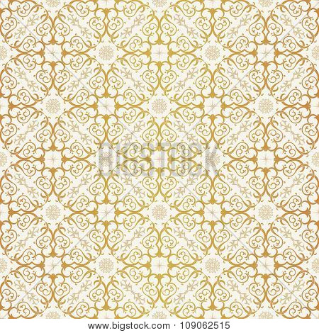 Seamless background in Arabic style. Gold and white  wallpaper with patterns for design. Traditional oriental decor