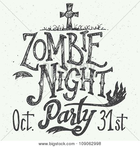 Zombie Night Party Hand-lettering