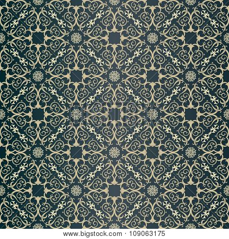 Seamless background in Arabic style. Dark blue wallpaper with patterns for design. Traditional oriental decor