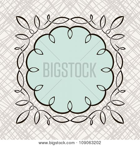 Set of hand-drawing calligraphic floral design elements. Vector illustration