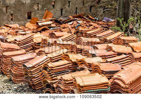 Pile Of Old Broken Roof Tiles