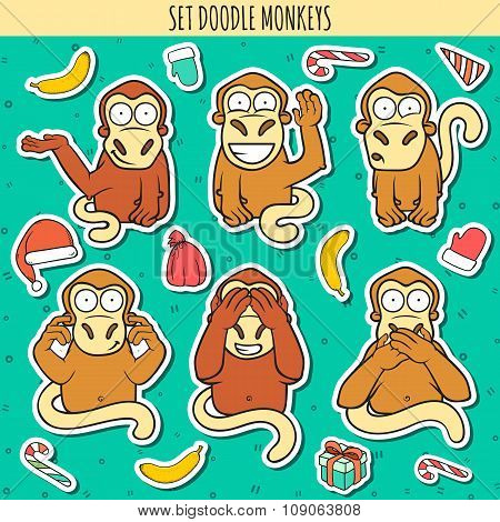 Year of red monkey. Doodle set monkeys sticker. Chinese horoscope