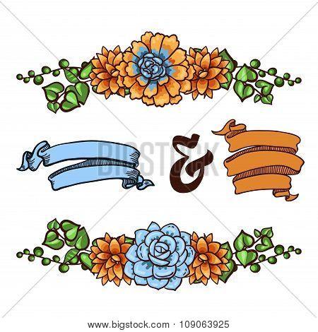 Vector  Decorative floral element of succulents