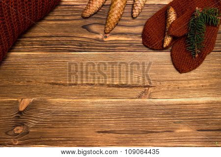 christmas background with fir branches and cones and a cup of coffee
