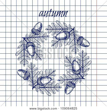 Leaf With Acorn In Square Lined Exercise Book