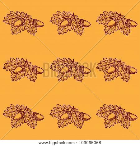 Leaf Skeleton With Acorn Pattern