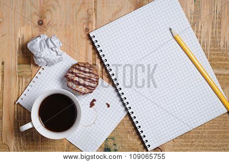 Coffee With Cookie And Notepad