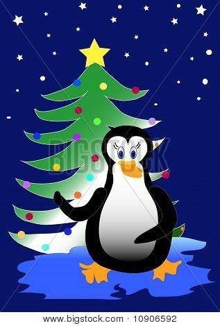 Bird Penguin With Christmas Tree