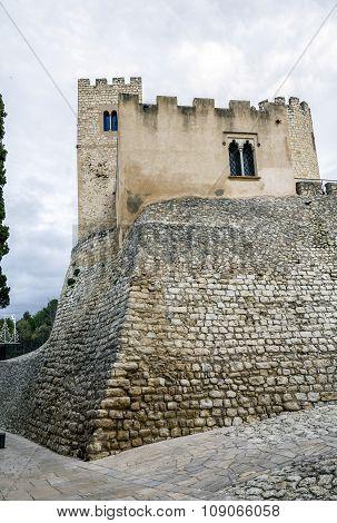 Castle At Castellet I La Gornal From Lake. Catalonia