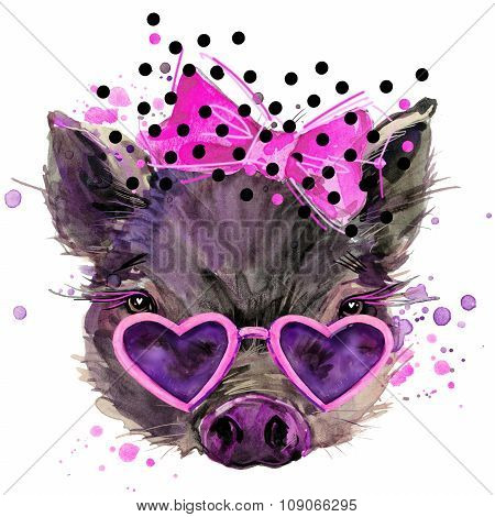 pig T-shirt graphics, pig illustration with splash watercolor textured background. unusual illustrat