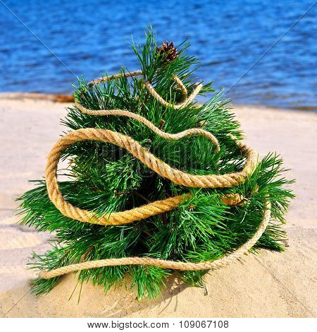 Christmas Tree On The Beach Against Blue Ocean
