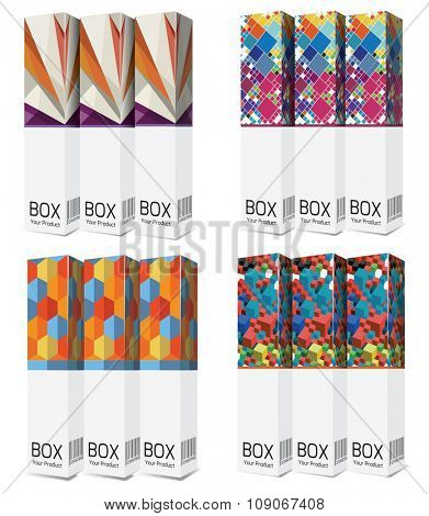 Set  package box with colorful design , vector illustration
