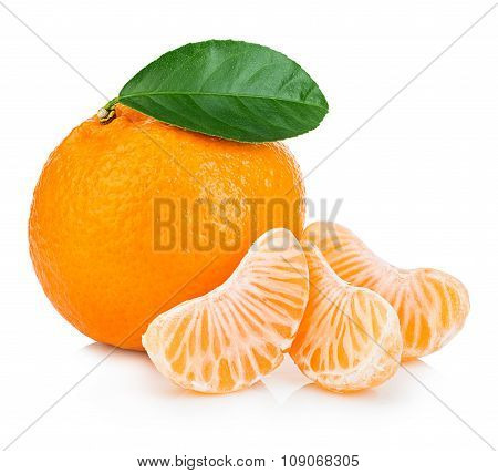 Ripe Mandarin With Leaf Close-up On A White Background. Tangerine Orange With Leaf On A White Backgr