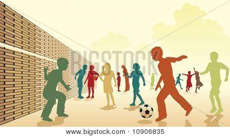 Schoolplein voetbal