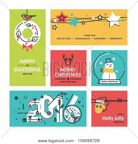 Flat line design Christmas and New Year's collection