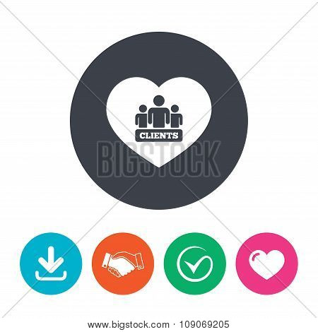 Love Clients sign icon. Group of people symbol.