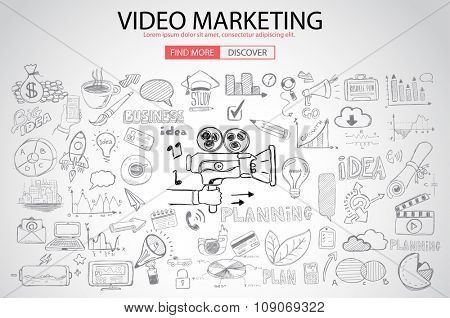 Video Marketing concept with Doodle design style :internet connections, web analysis, www statistics .Modern style illustration for web banners, brochure and flyers.