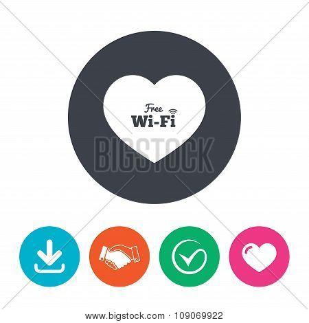 Love Free wifi sign. Wifi symbol.