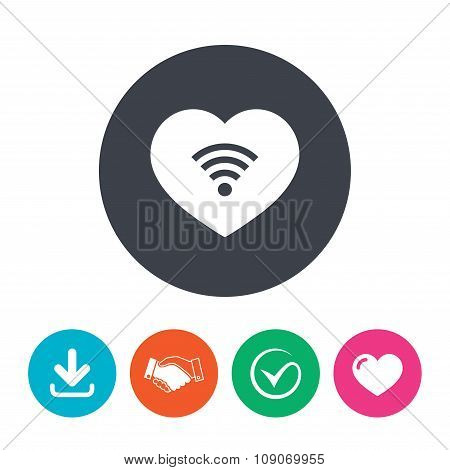 Love Wifi sign. Wi-fi symbol. Wireless Network.