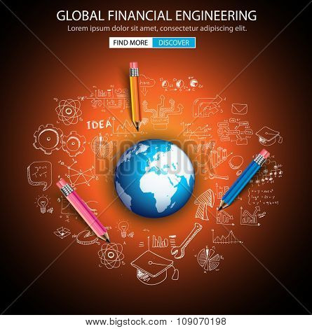 Global Financial Engineering concept with Doodle design style :tmoney distribuiion, studies, investment strategies. Modern style illustration for web banners, brochure and flyers.