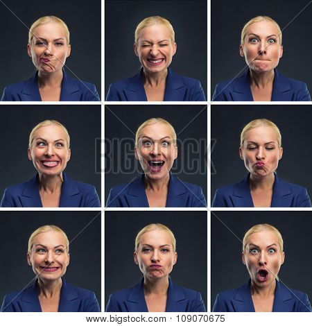 Set of young blond woman making various expressions